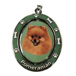 Pomeranian Spinning Dog Keychain