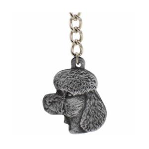 Poodle Pewter Dog Head Keychain