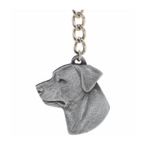 Rottweiler Pewter Dog Head Keychain