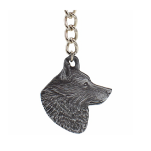 Schipperke Pewter Dog Head Keychain