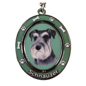 Schnauzer Uncropped Ears Spinning Keychain