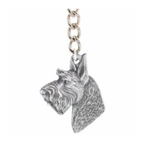 Scottish Terrier Pewter Dog Head Keychain
