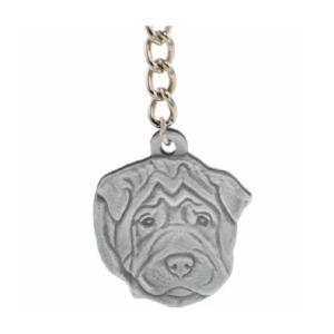Shar-Pei Pewter Dog Head Keychain