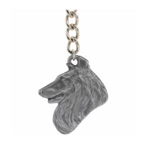 Shetland Sheepdog Pewter Dog Head Keychain