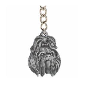 Shih Tzu Pewter Dog Head Keychain