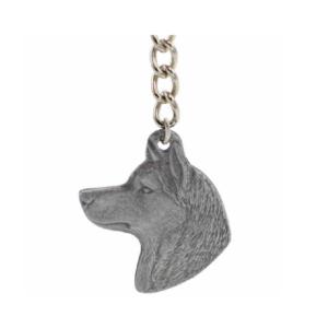 Siberian Husky Pewter  Dog Head Keychain
