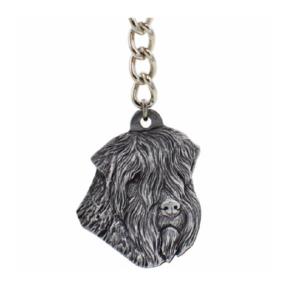 Soft-Coated Wheaten Terrier Pewter Dog Head Keychain