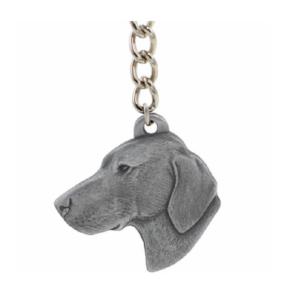 Vizsla Pewter Dog Head Keychain