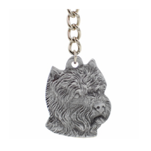 West Highland White Terrier Pewter Dog Head Keychain
