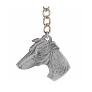 Whippet Pewter Dog Head Keychain