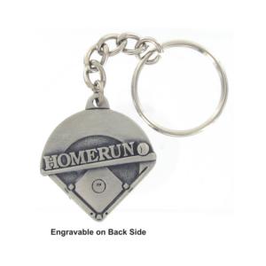 Baseball Homerun Engravable Pewter Keychain