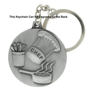 Chef  Engravable Pewter Keychain