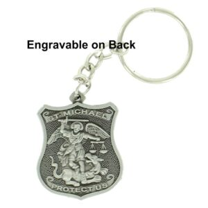 Police St. Michael Engravable Pewter Keychain