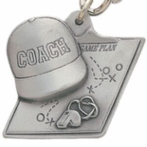 Coach and Clipboard Engravable Pewter Keychain