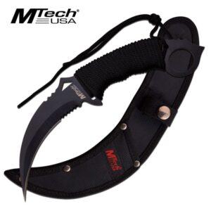M Tech Karambit Black Fixed Blade Cord Wrapped Knife