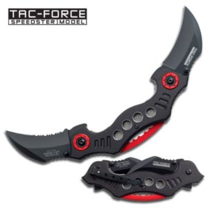 Tac-Force Spring Assisted Double Blade Black and Red Knife