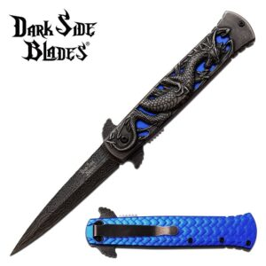 Dragon Black 3D on Cut Out Blue Background Pocket Knife