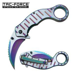 Rainbow Accents on a Karambit Pocket Knife