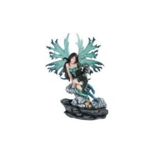 Green Fairy on Rock with Dragon