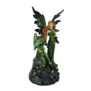 Green Fairy with Dragon Figurine Standing on LED Geode Boulder