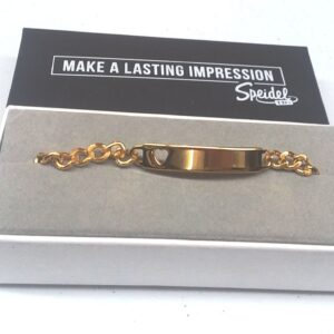 Personalize a Ladies Gold Tone Cut Out Heart with Chain Bracelet
