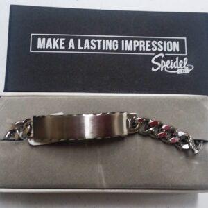 Customize a Men's Brushed Silver Tone Scallop Edge Id Bracelet