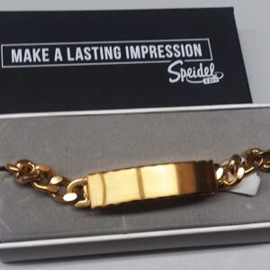 Personalize a Men's Scalloped Edged Brushed Gold Tone Bracelet