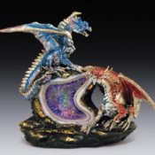 Blue And Red Dragons On Light Up Purple Gemstone Geode EISR51