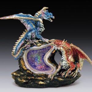 Blue & Red Dragons on Light Up Purple Gemstone Geode