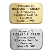 Brass Or Silvertone Nameplate 1.25 Inches By 1.875 Inches ESF4