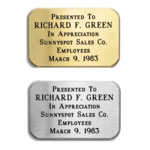 Silver Tone or Brass Rectangular Plate with Round Corners 1.25″ x 1.875″