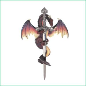 Dragon Brown Wall Plaque with Sword