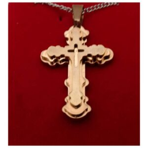 Copper Tone Stainless Budded Cross