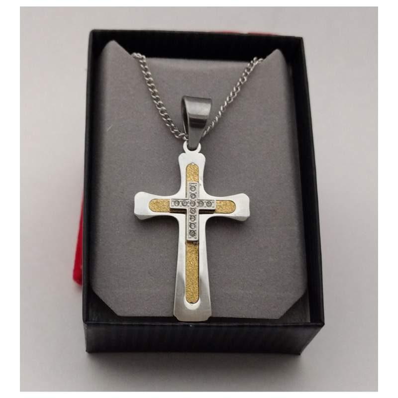 Cross Inlaid Gold CZ Cross Over Lay NYLA1499