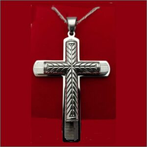 Stainless or Brass Cross with Overlay Patterned Cross