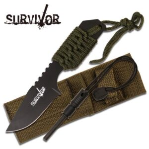 Fixed Blade Knife, Chord Wrapped Grip, Fire Starter and Sheath