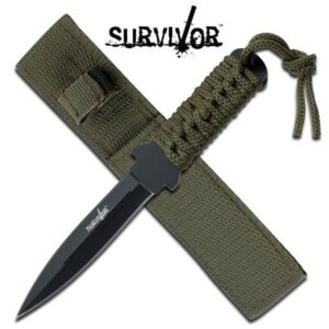 Boot knife Black Blade Chord Wrapped Grip and Sheath