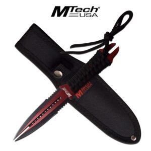 Red and Black Two Point Fixed Blade Knife with Sheath