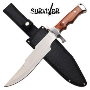 Wood-Like Handle on Fixed Blade Knife with Sheath