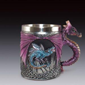 Purple Dragon's Wings Frame Two Blue Dragons Mug