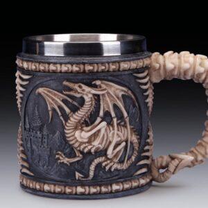 Dragon Skeleton with Castle in Background Mug