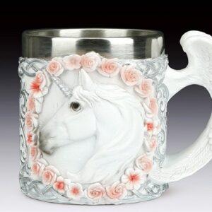Unicorn Head in a Circle of Flowers Mug