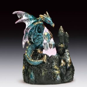 Blue Dragon on Rock with Three Crystals