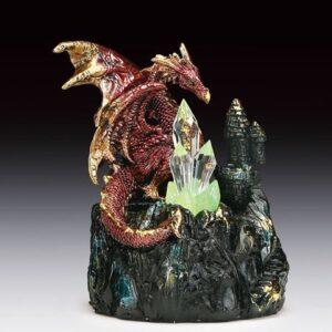 Burgundy Dragon on Rock with Three Crystals