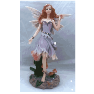 Fairy in Purple with Two Red Roses and a Pond