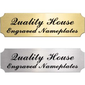 Brass or Silver Engravable Nameplate 7/8″ x 3″