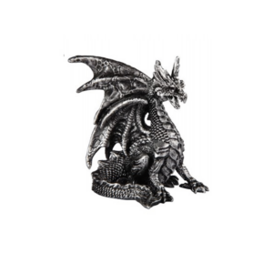 Dragon Silver Tone Sitting Wings Out Tail Coiled