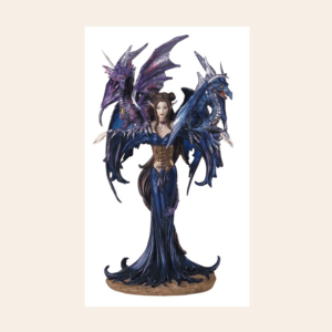 Fairy in Purple Dress with a Dragon Perched on Each Shoulder