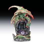 Green Dragon Figurine Perched Above Castle With Light Up Gemstone Crystal EISR76