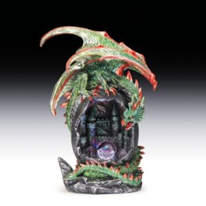 Green Dragon Figurine Above Castle with Light Up Crystal